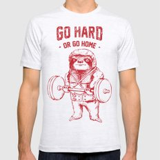 Go Hard or Go Home Sloth Ash Grey Mens Fitted Tee X-LARGE