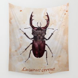 Stag beetle painting Wall Tapestry