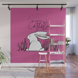 Happy Easter Pink Bunny Rabbit in Grass Wall Mural