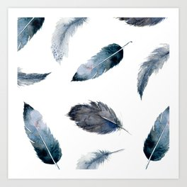 Midnight Feather Art Print