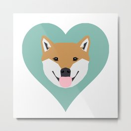 Shiba Love - Heart shiba inu funny dog for dog lovers pet gifts customizable dog meme dog person Metal Print