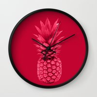 pineapple Wall Clocks featuring Pineapple by Simi Design