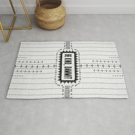 Be Kind, D**mit - Illustration on Pale Grey - Off White - Speckled Texture - Typography Rug
