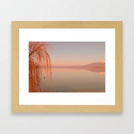 Autumn Lake Sunset Framed Art Print