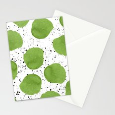 Modern green watercolor polka dots black brushstrokes greenery color of the year pattern Stationery Cards