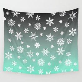 Snow Flurries-Gray/Aqua Ombre Wall Tapestry