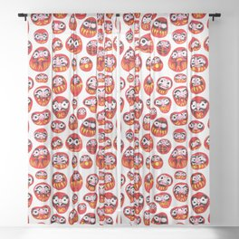 Japanese Daruma Characters Sheer Curtain
