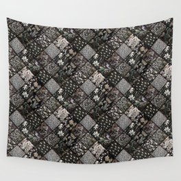 Faux Patchwork Quilting - Black Wall Tapestry