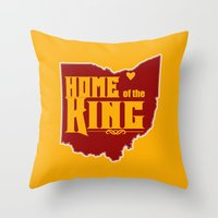 lebron Throw Pillows featuring Home of the King (Yellow) by Denise Zavagno