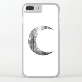 White Forest Crescent Moon Clear iPhone Case