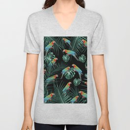 Parrots in the Tropical Jungle Night #2 #tropical #decor #art #society6 Unisex V-Neck