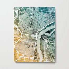 Philadelphia Pennsylvania Street Map Metal Print