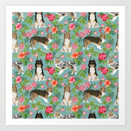 Sheltie shetland sheepdog hawaii floral hibiscus flowers pattern dog breed pet friendly Art Print