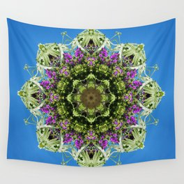Intricate floral kaleidoscope - Vebena, Dichondra leaves with blue sky Wall Tapestry
