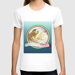 Food. Rolled spaghetti. Italian taste. T-shirt