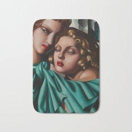 Classical Masterpiece 'Cold Beauty - Two Girls - Les Jeunes Filles' by Tamara de Lempicka Bath Mat