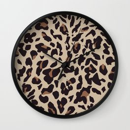 Brown Leopard Print Wall Clock