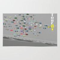 tour de france Area & Throw Rugs featuring Tour De France by Wyatt Design