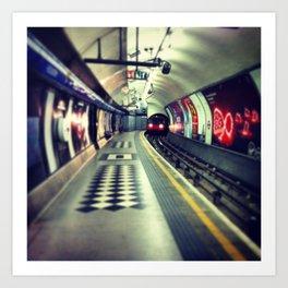 London underground - Train coming! train lights on rails Art Print