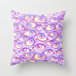 Wall of Eyes in Purple Throw Pillow