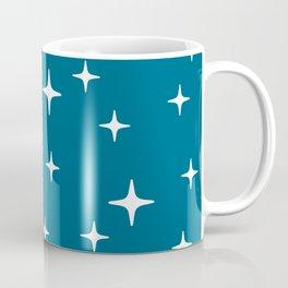 Mid Century Modern Star Pattern 443 Peacock Blue Coffee Mug