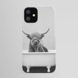 Highland Cow in a Vintage Bathtub (bw) iPhone Case