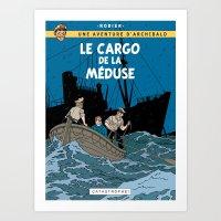 tintin Art Prints featuring Le Cargo de la Méduse by Mouah