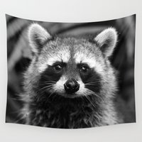 racoon Wall Tapestries featuring Racoon B & W by Heidi Ingram