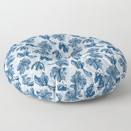 Abstract Tulips - Blue Floor Pillow