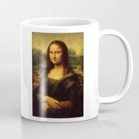 mona lisa Mugs featuring Mona Lisa by Elegant Chaos Gallery