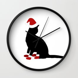 Christmas Pets Cat Sitting Silhouette in Santa Hat and Santa Boots Christmas Cats Wall Clock