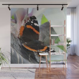 Red Admiral on a White Bird of Paradise Bloom Wall Mural