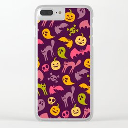 Neon Halloween Pattern - Purple Background Clear iPhone Case