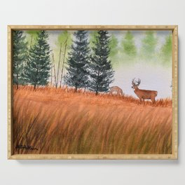 Deer On A Misty Morning Serving Tray