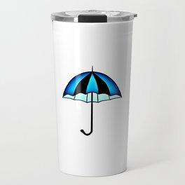 Bright Blue Black Rain Umbrella Illustration Travel Mug
