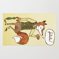 mr fox Area & Throw Rugs featuring Mr. Fox by Drew Brockington