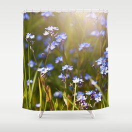 Forget me not flowers in sunlight Shower Curtain