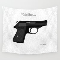 bond Wall Tapestries featuring Bond PPK by AngoldArts