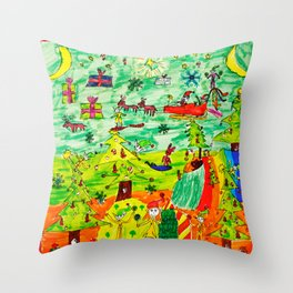 Christmas Village | Painting by Elisavet Throw Pillow