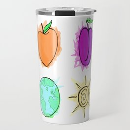 Peach, Plum, Earth, Sun Travel Mug