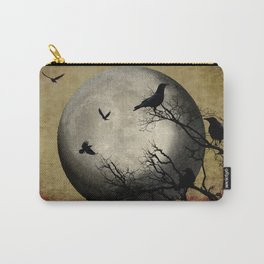 Rustic Black Bird Raven Crow Tree Dark Side of the Moon Gothic Art A169 Carry-All Pouch