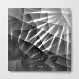 Exclusive glowing mosaic pattern of chaotic black and white fragments of glass, metal and ice floes. Metal Print