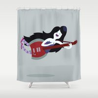 marceline Shower Curtains featuring Marceline Rocking Out | Adventure Time by Aaron Bowersock