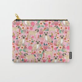 Pug floral dog breed pet pugs must have gifts for unique dog breed owners Carry-All Pouch