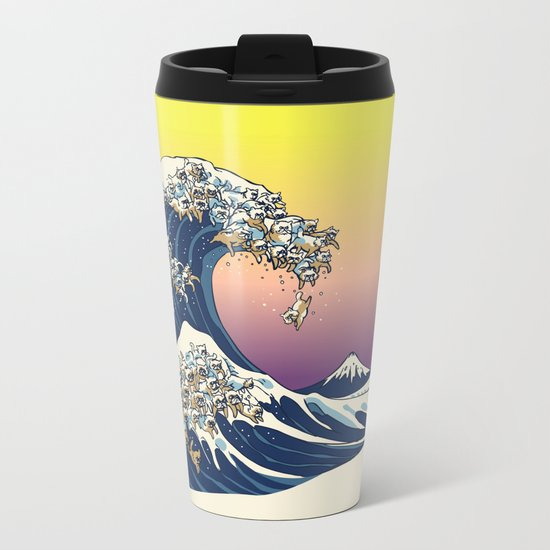 The Great Wave Of  Cat Metal Travel Mug