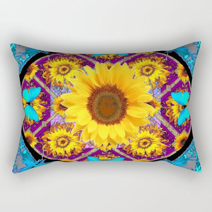 TURQUOISE BUTTERFLIES SUNFLOWER BLACK ART Rectangular Pillow