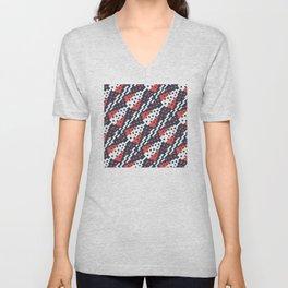 Chocktaw Geometric Square Cutout Pattern - Candy Cane USA Unisex V-Neck