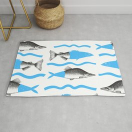 Hand Drawn Blue Fishes  Collage  on a White Background Rug