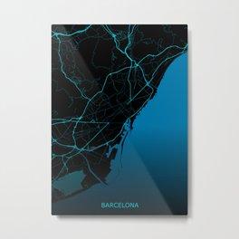 Barcelona Road Map Metal Print