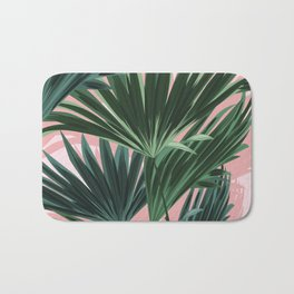 Pink and green palm trees Bath Mat